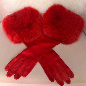 Red Leather Gloves with Fur Trim